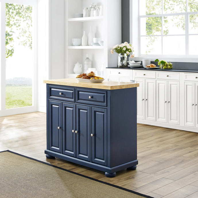 Madison Navy Kitchen Island w/ Butcher Block Countertop Prep Station KF30031ANV - Kitchen Furniture Company