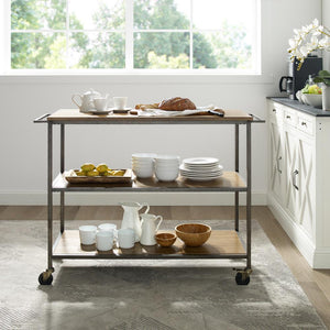 Industrial Oak Farmhouse Kitchen Serving Cart w/ Sturdy Casters 3022-WO - Kitchen Furniture Company