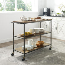 Load image into Gallery viewer, Industrial Oak Farmhouse Kitchen Serving Cart w/ Sturdy Casters 3022-WO - Kitchen Furniture Company