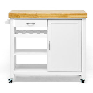 White Kitchen Cart with Towel Rack Thick Solid Wood Countertop - Kitchen Furniture Company