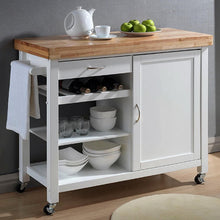 Load image into Gallery viewer, White Kitchen Cart with Towel Rack Thick Solid Wood Countertop - Kitchen Furniture Company