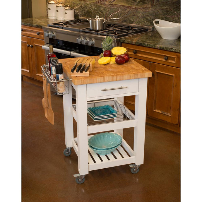 All Natural White Personal Chef's Prep Station W/ Wired Rack Storage JET3187 - Kitchen Furniture Company