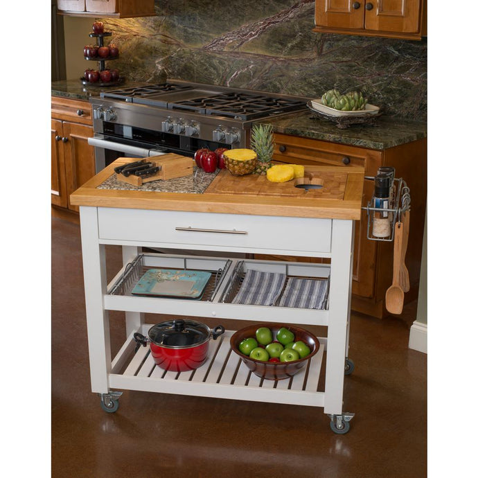 White Professional Kitchen Island Work Station Cart w/Granite Slab JET3186 - Kitchen Furniture Company