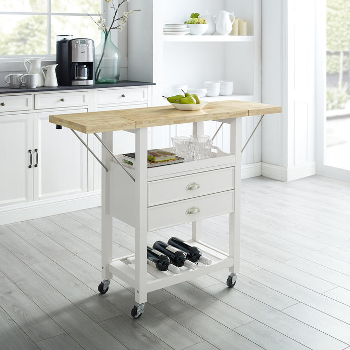 Rolling White Kitchen Cart with Double Drop Leaf Wine Shelf 3023-WH - Kitchen Furniture Company