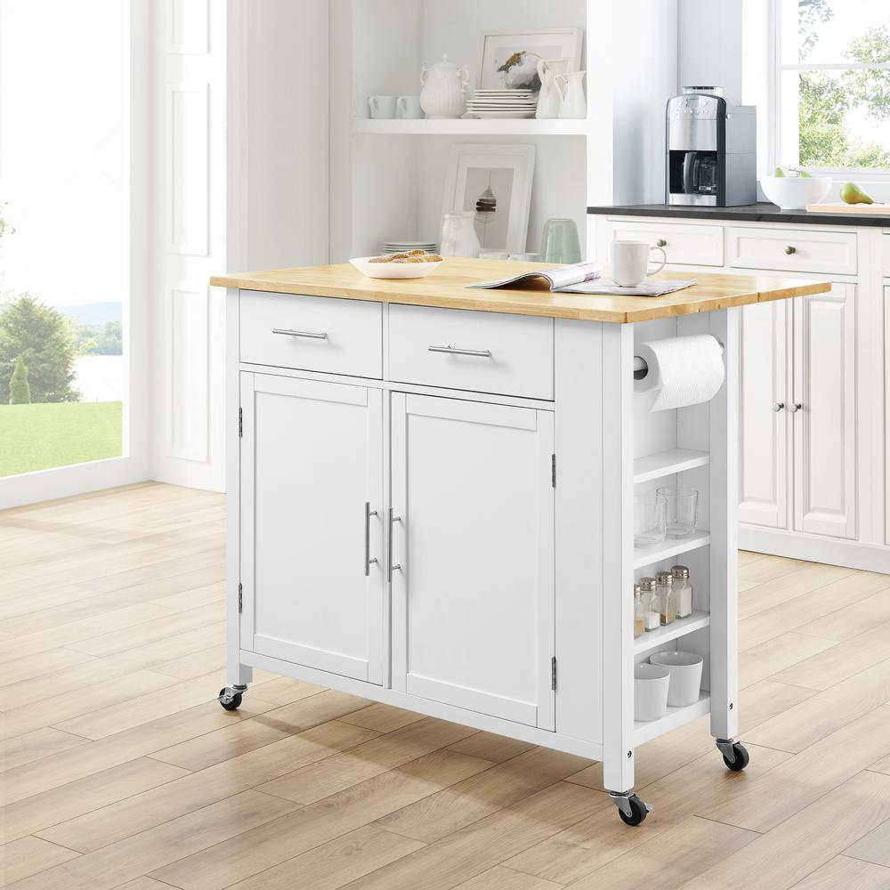 Savannah White Kitchen Island with Wood Top Drop-Leaf - Kitchen Furniture Company