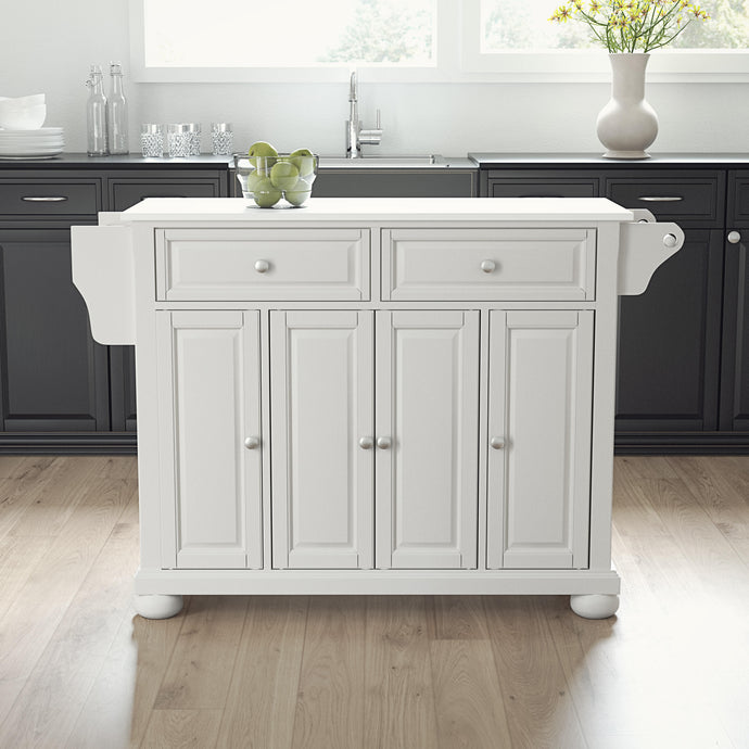 Traditional White Full Size Kitchen Island/Cart with Granite Top 30005AWH - Kitchen Furniture Company
