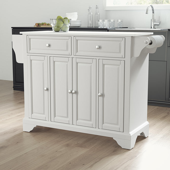 Lafayette White Full Size Kitchen Island/Cart with Granite Top - Kitchen Furniture Company