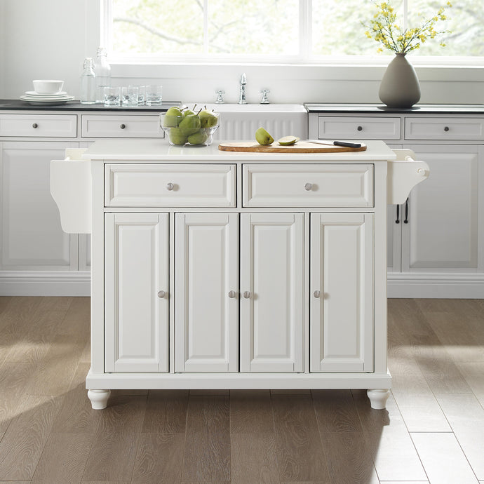 Cambridge White With Granite Top Full Size Kitchen Island - Kitchen Furniture Company