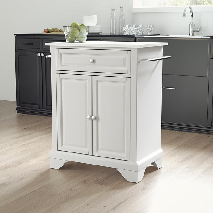 Lafayette White Portable Kitchen Island/Cart with Granite Top - Kitchen Furniture Company