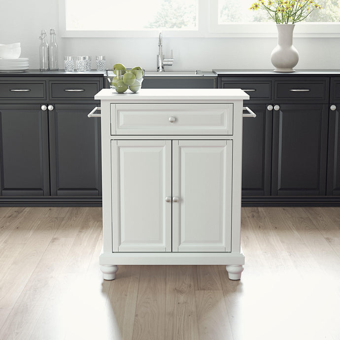 Cambridge White Portable Kitchen Island with White Granite Top - Kitchen Furniture Company