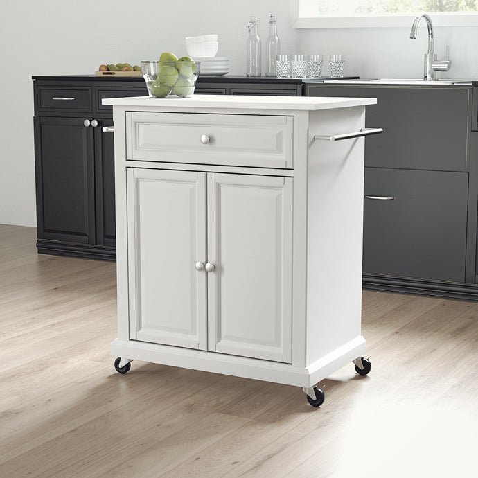 White Portable Kitchen Cart with Granite Top Sturdy Casters - Kitchen Furniture Company
