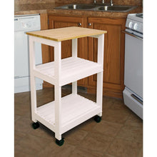 Load image into Gallery viewer, White Kitchen Cart with Natural Wood Top 81515 - Kitchen Furniture Company