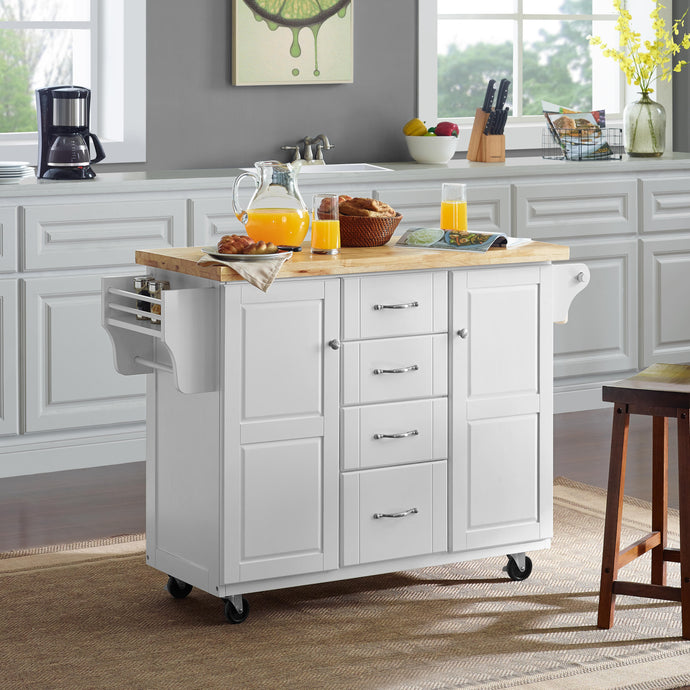 White Kitchen Cart with Natural Wood Top 3018WH-NA - Kitchen Furniture Company