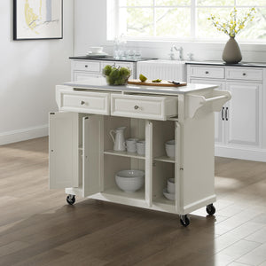 Full Size White Kitchen Cart with White Granite Top Sturdy Casters - Kitchen Furniture Company