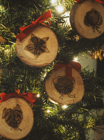 Engraved Wooden Christmas Ornaments (set of 8)