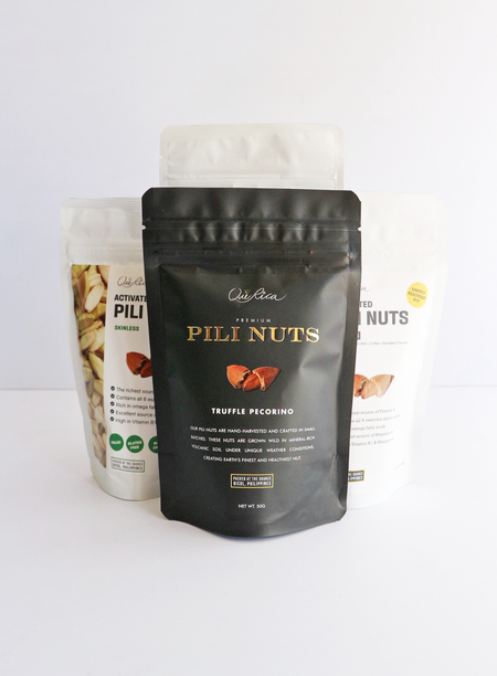 Pili Sampler Set - 1pc Pili with Truffle Pecorino 50g, 1pc Pili with Coffee Coco Sugar 50g and 1pc Pili with Himalayan Salt 50g