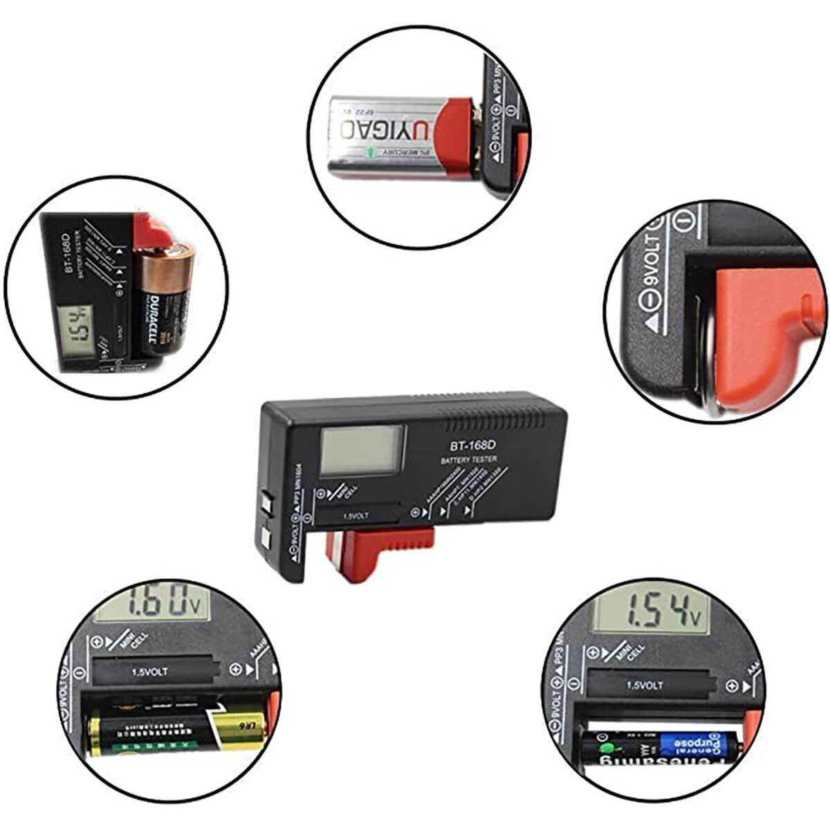 Universal Digital Battery Tester Hold
