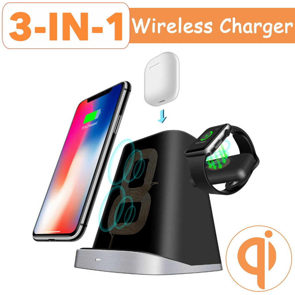 3-in-1 Wireless Charger Station Qi Logo
