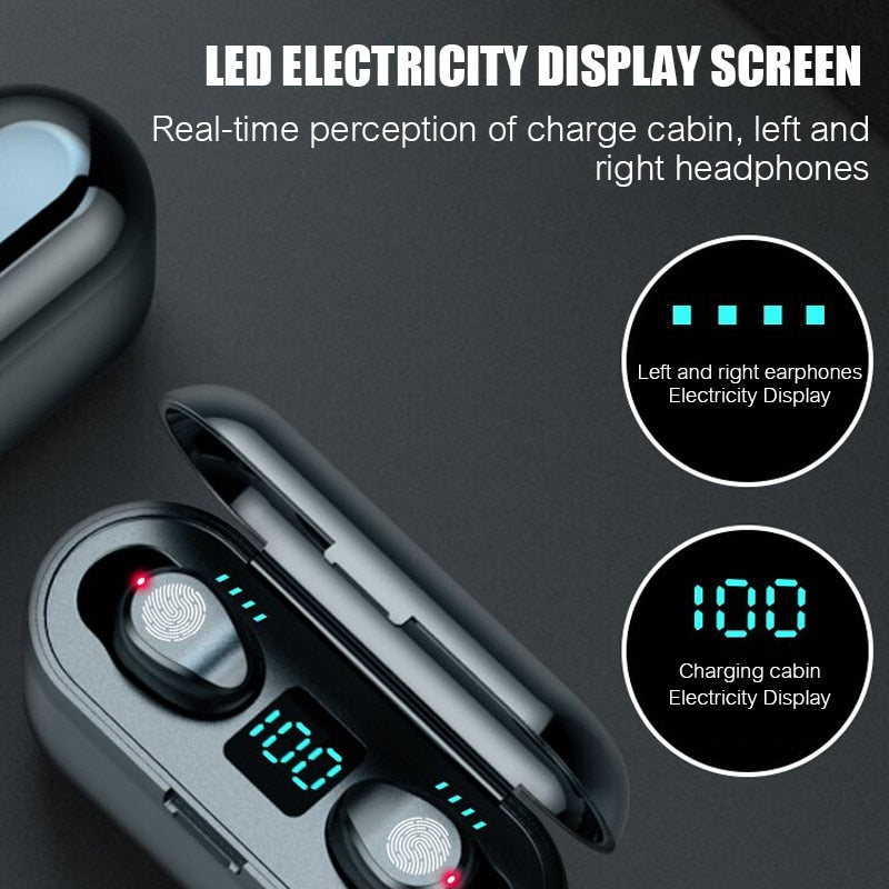 Wireless Earbuds Bluetooth V5.0 F9 TWS  LED Display With 2000mAh Power Bank Headset With Microphone - Fitness locale