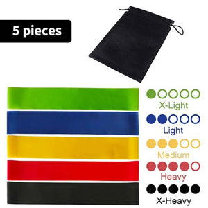 5PCS Yoga Resistance Exercise Bands, with Carry Bag - Fitness locale