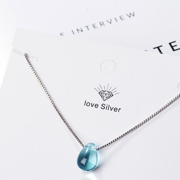 Silver Chain, Blue Crystal Water Drop Pendant Necklaces
