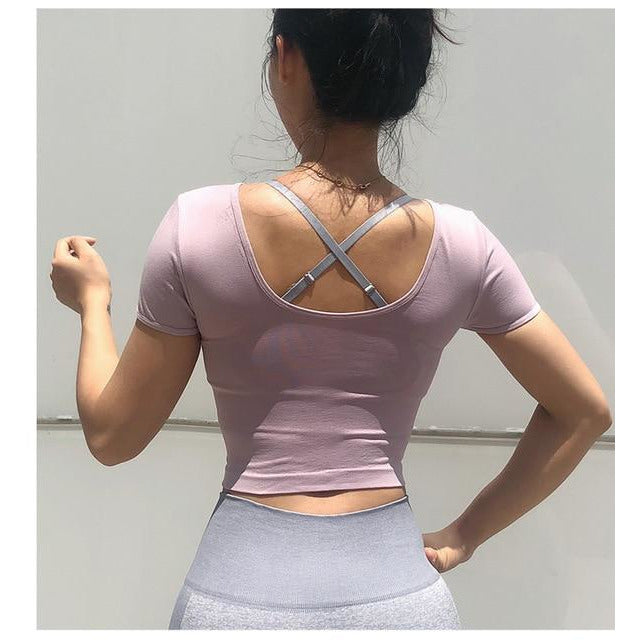 Women Yoga Top,  Short Sleeve,10 colors