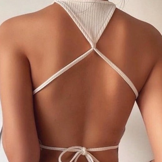 Backless  Cross Halter Cropped Top