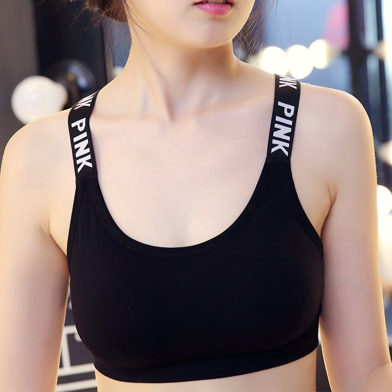 Women Padded Sport Bra Black and white