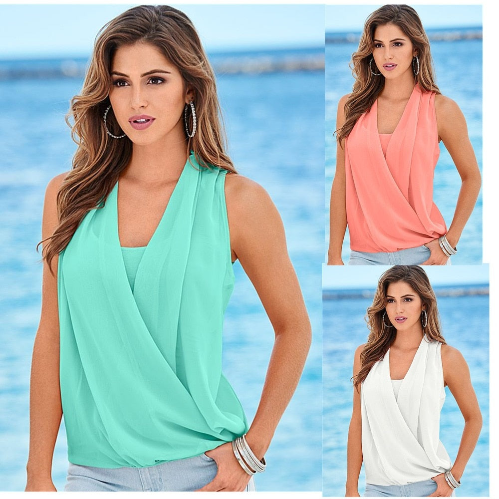 Summer Chiffon Tanks Sleeveless