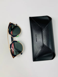 Dior So Real Sunglasses gold frame cut green U5WZJ