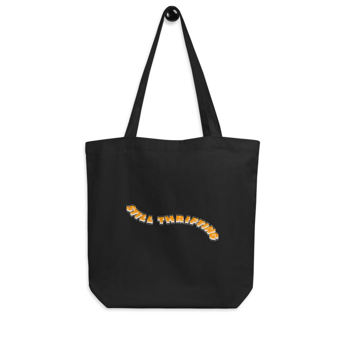 Still Thrifting Waved Logo Tote Bag black/orange small