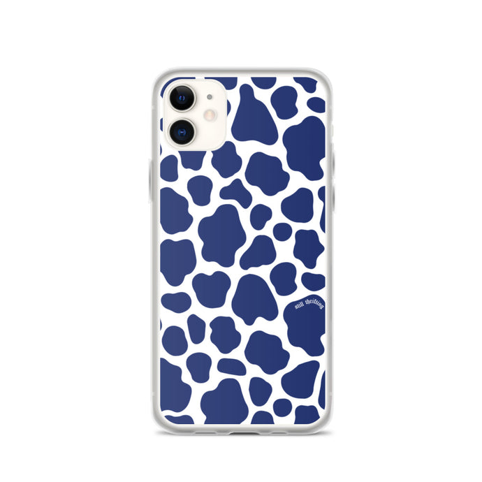 Still Thrifting iPhone Case Blue Cowprint