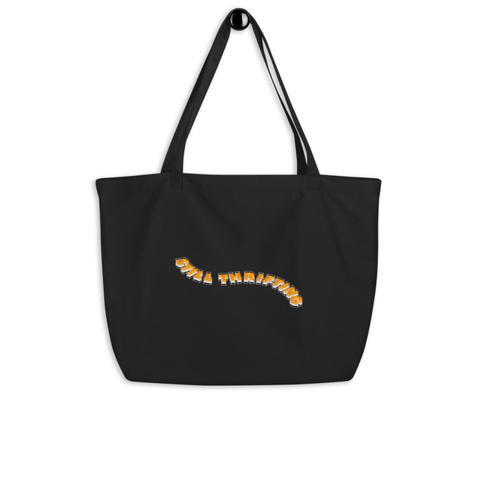 Still Thrifting Waved Logo Tote Bag black/orange big
