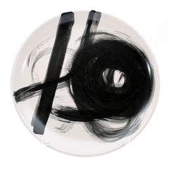 "platter. round ""black abstract"""