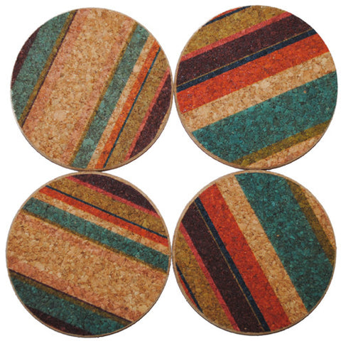 "round ""tropical stripe"" coasters"