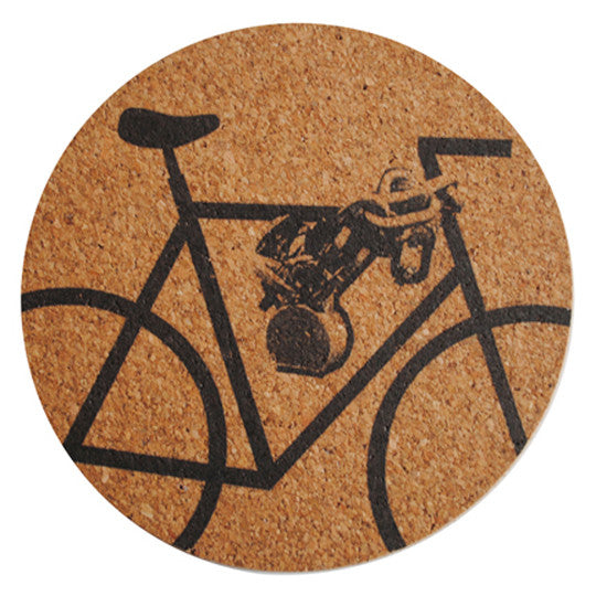 "round ""b/w bicycle"" trivet - front"