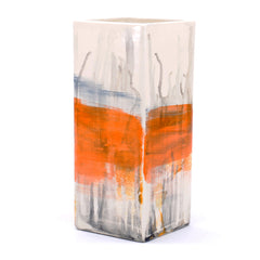 "vase. square tall. ""multi color abstract"""