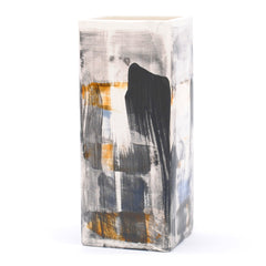 "vase. square tall. ""blue black gold multi"""