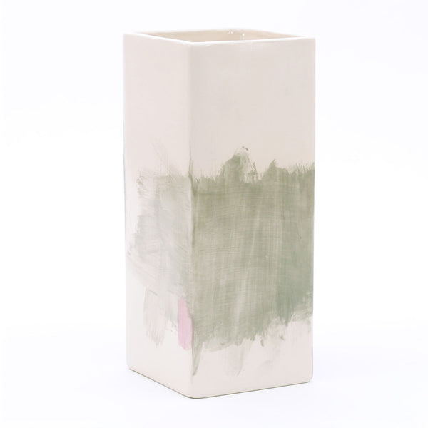 "vase. square tall. ""grey with lavender"""
