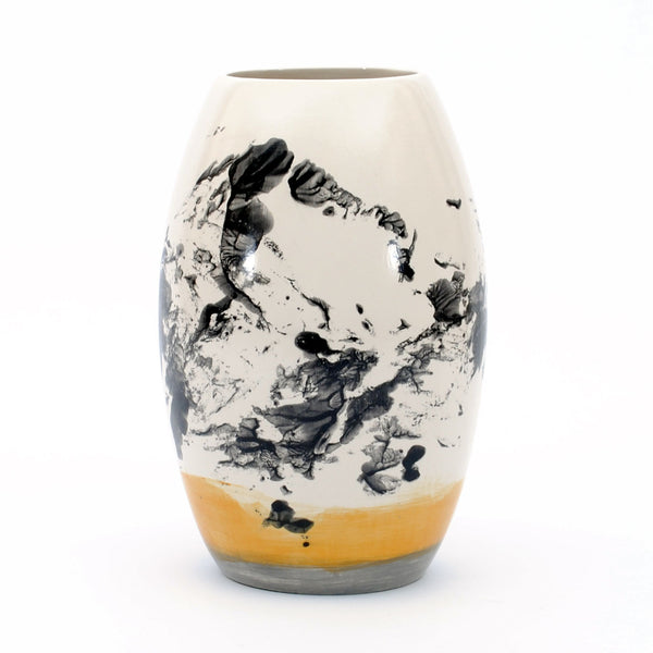 "vase. tapered tall. ""black smudge with blue yellow"""
