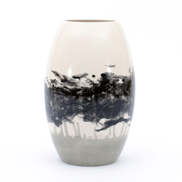 "vase. tapered tall. ""black smudge with grey"""