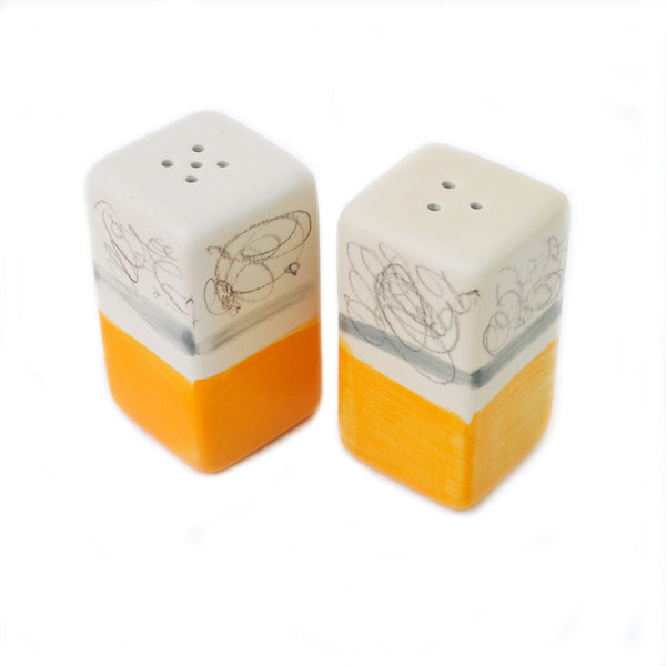 """orange"" salt & pepper shakers"