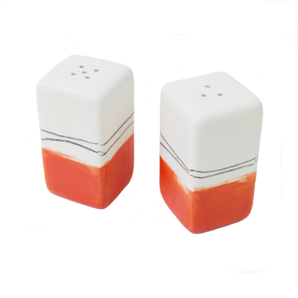 """red"" salt & pepper shakers"