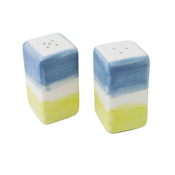 """blue + chartreuse"" salt & pepper shakers"