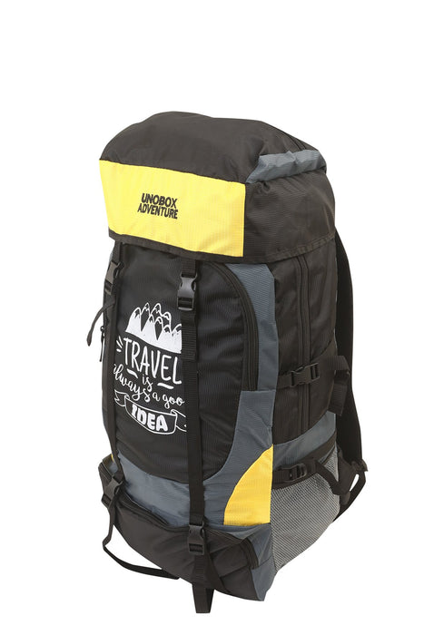 Travel Is Always A Good Idea Hiking Bag 50 LTR (Yellow)- FREE RAIN COVER