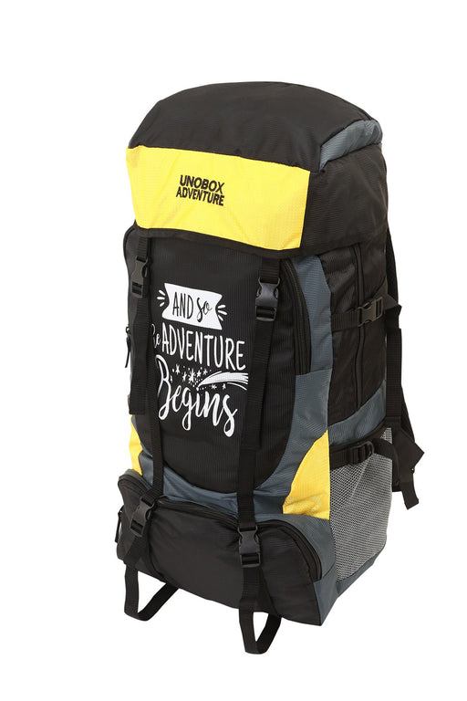 Adventure Begins Hiking Bag 50 LTR (Yellow)-FREE RAIN COVER