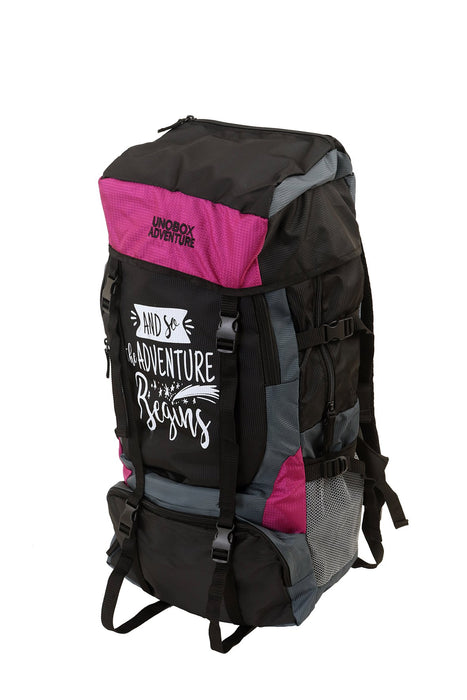 Adventure Begins Hiking Bag 50 LTR (Purple)-FREE RAIN COVER