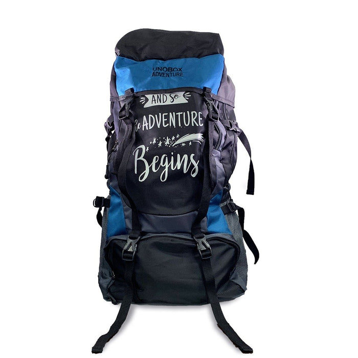 SET OF 2 Adventure Begins Hiking Bag 50 LTR  (BLUE + GREEN) - FREE RAIN COVER