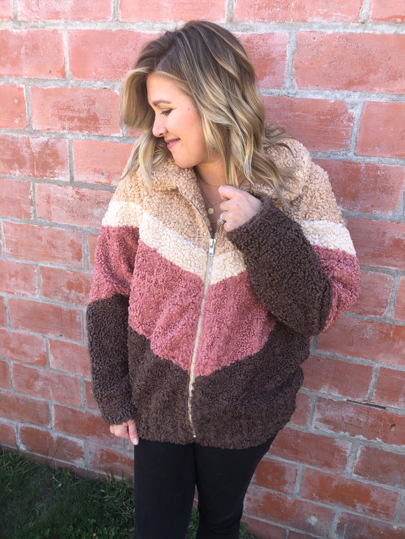 Mauve Color Block Chevron Bomber Jacket