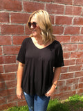 Flowy Basic Tee - Black